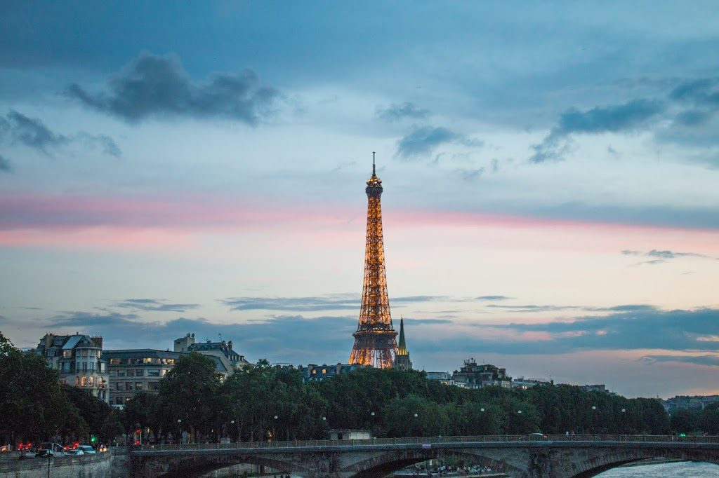 The Eiffel Tower at sunset, photographed from Pont Alexandre III