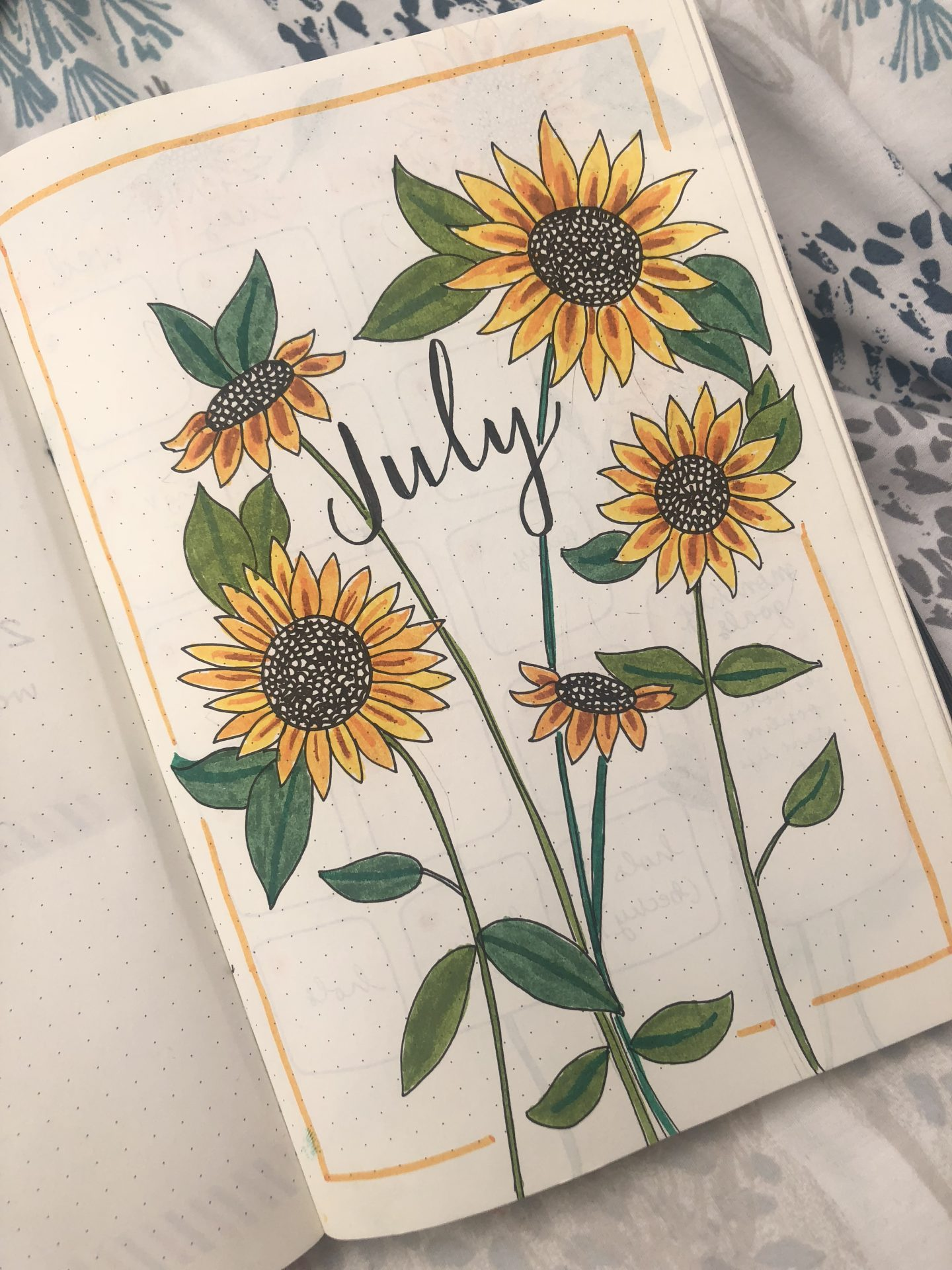 July bullet journal cover page