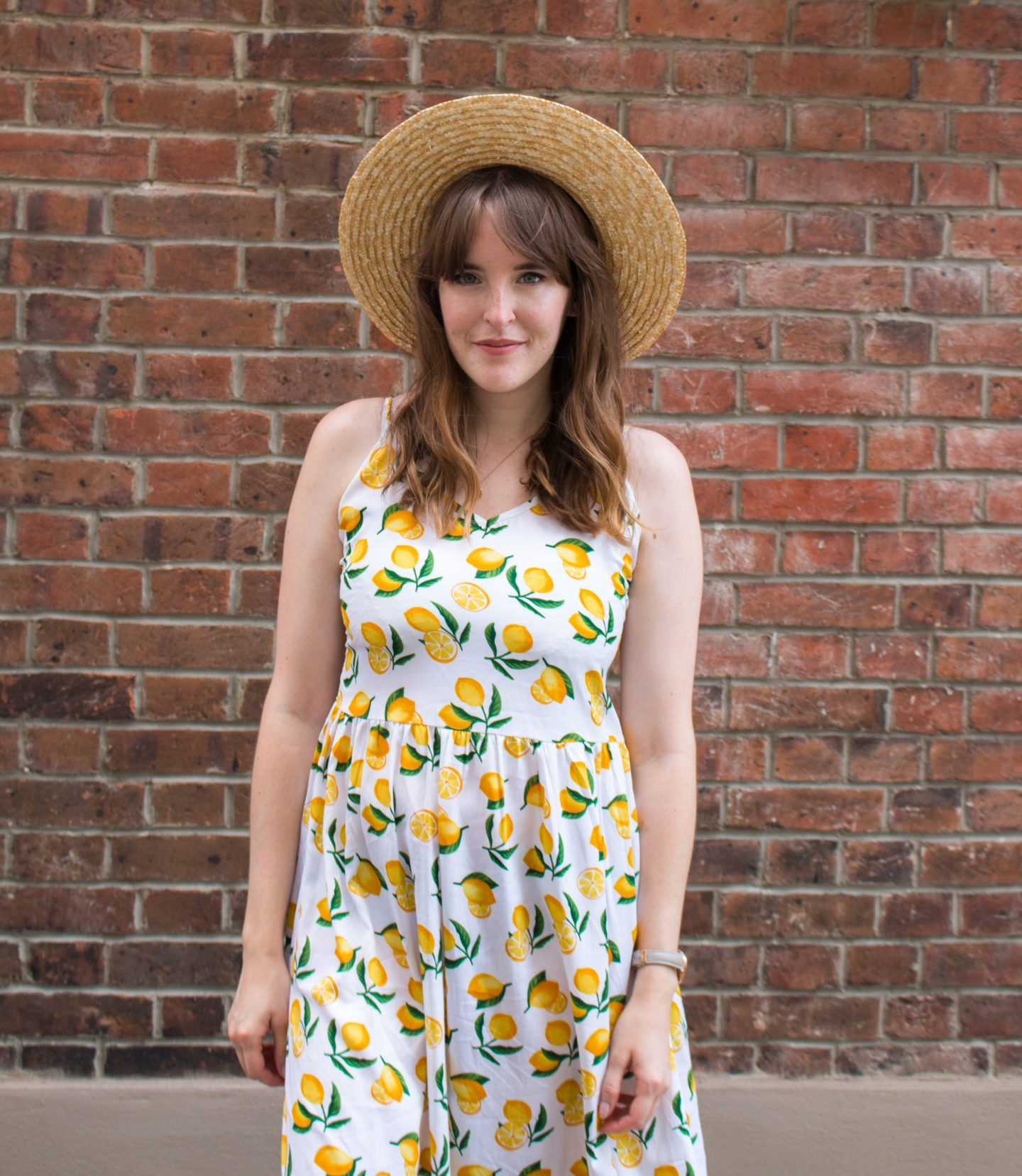 Lemon dress and straw hat