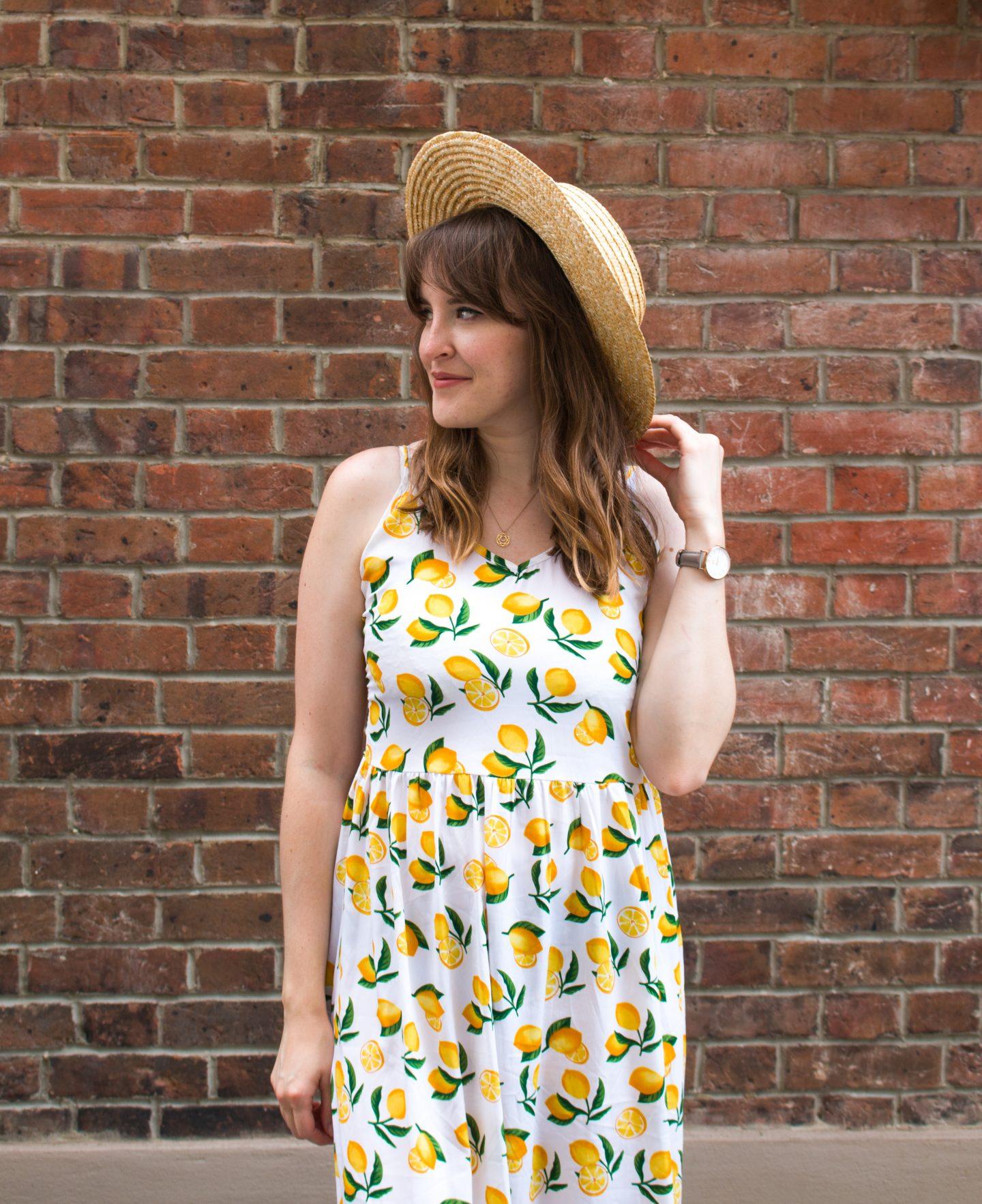 ASOS Vero Moda lemon print dress and ASOS straw hat